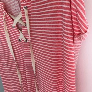 Tops - Coral Stripe Lace up Tee!